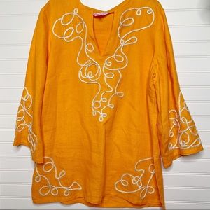 Lilly pulitzer embroidered 100% linen blouse